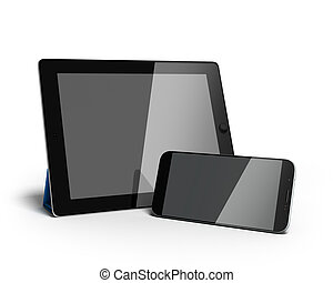 digital tablet and smartphone 3d render isolated on white