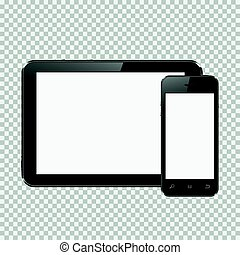 Digital tablet and smartphone isolated on transparent background