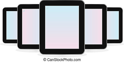 Digital tablet computer set isolated on white