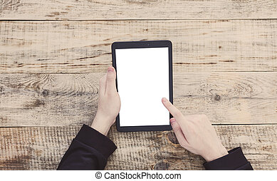 Digital tablet computer with isolated screen in male hands. Top view with copy space. Free space for text. Hipster style