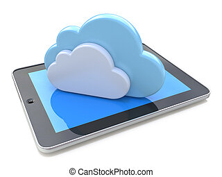 Digital tablet connected with cloud computing on the white background