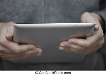 Digital tablet - Human hands with tablet PC. Close-up view