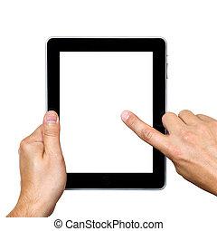 digital tablet in hands over white background