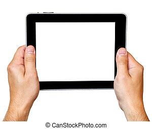 digital tablet in hands over white background