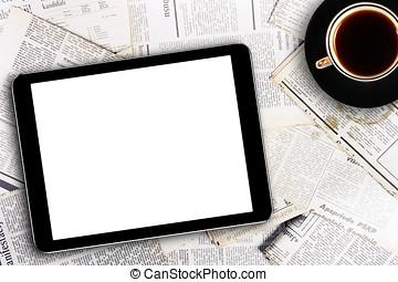 digital tablet, och, kaffe kopp, på, tidningar