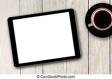 digital tablet, och, kaffe kopp, på, trä tabell