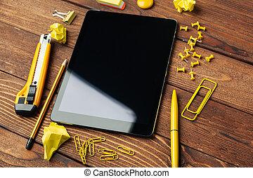 Digital tablet on office table creative photo.