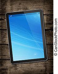 digital tablet, pc, på, a, mörk, ved, bord