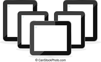 Digital tablet PC set isolated on white background