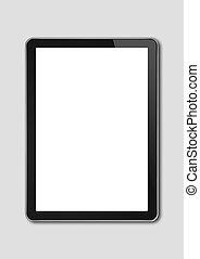 digital tablet, pc, smartphone, mall, isolerat, på, grå