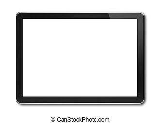 digital tablet, pc, smartphone, mall, isolerat, vita