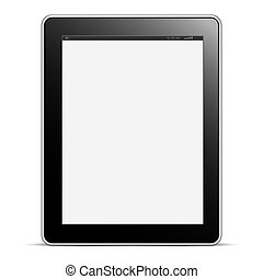Digital tablet PC with blank screen isolated on white