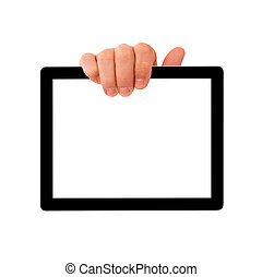 digital tablet pc with businessman hand.