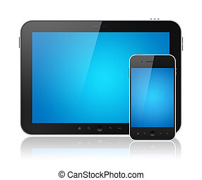 Digital Tablet PC With Mobile Smart Phone Isolated - Modern...