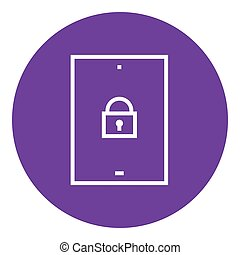 Digital tablet security line icon.