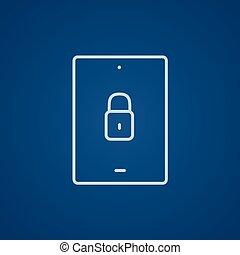Digital tablet security line icon.