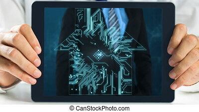 Digital Tablet showing businessman