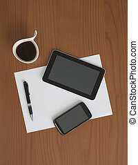Digital Tablet & Smart Phone on the Table