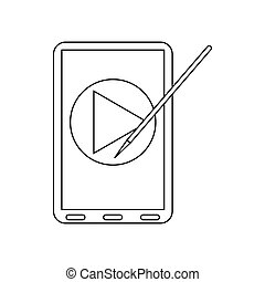 Digital tablet with a stylus icon, outline style - Digital...