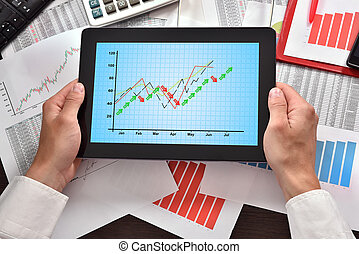 digital tablet with chart