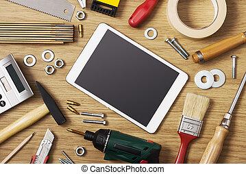 Digital tablet with DIY tools