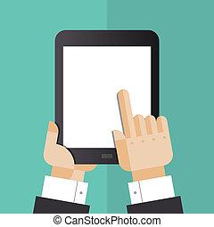 Digital tablet with hands flat illustration