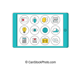 Digital tablet with line apps icons