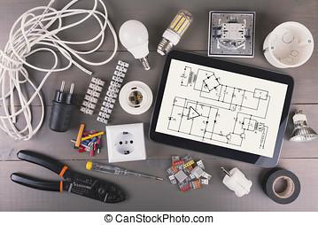 Charming Digital Tablette, Mit, Stromkreis, Schema, Und, Elektrische Ausrüstungen