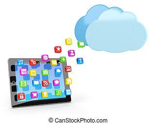 digital tablette, pc, mit, app, heiligenbilder, und, wolke