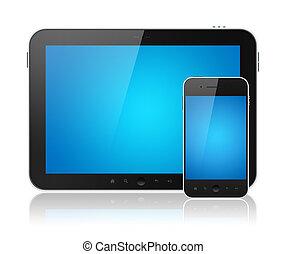 digital tablette, pc, mit, beweglich, klug, telefon,...