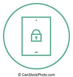 digital tablette, sicherheit, linie, icon.