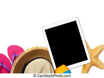 digital tablette, und, sommer, füllen