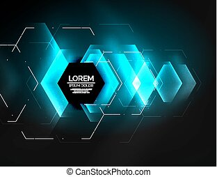 Digital techno abstract background, glowing hexagons, vector...