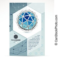 Digital technologies company advertising flyer. Abstract blue isometric construction, low poly vector.