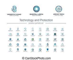 Digital technology and protection creative symbols set. Security lock abstract business logo concept. Camera eye, shield, smart robot hand icons