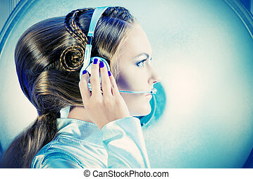 digital technology - Beautiful young woman in silver latex ...