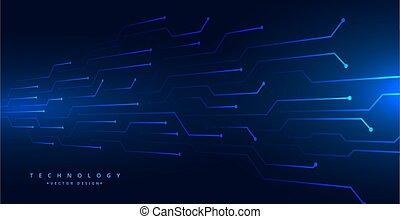 digital technology circuit lines mesh blue background design