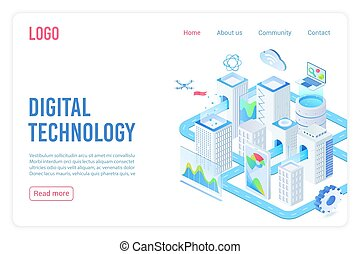 Digital technology landing page isometric vector template. Internet of things, cloud computing service 3d web banner concept. Smart city, telecommunication, data synchronization website homepage.