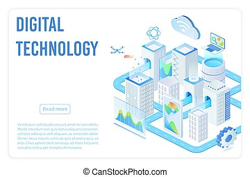 Digital technology landing page isometric vector template