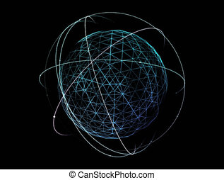 Digital technology rendering of the globe with orbiting...
