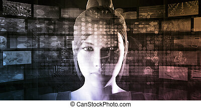 Digital Technology with Futuristic Abstract Background...