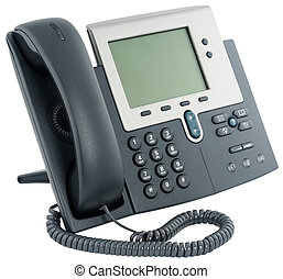 Office digital telephone set, on-hook, isolated on white