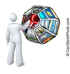 Digital television v3 - Variant of media globe, tv channels...