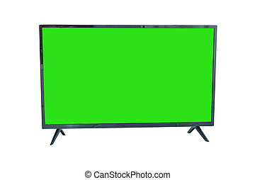 digital television with green screen on white background