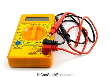 Digital tester - a yellow multimeter with corresponding...