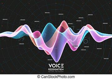 digital, text., vector, onda, audio, resumen, voz, eco,...