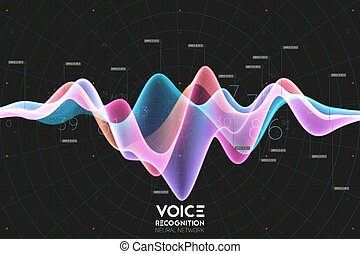 digital, text., vetorial, onda, áudio, abstratos, voz, eco,...