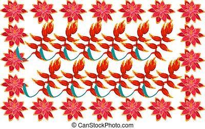digital textile design of different flowers
