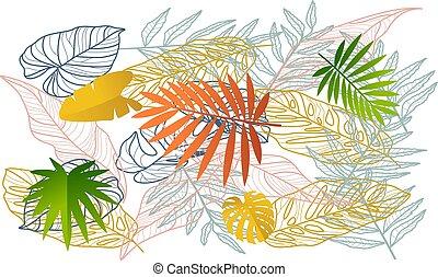 digital textile design of different leaves