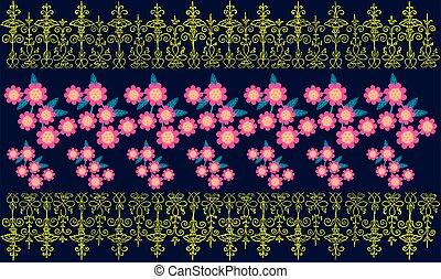 digital textile design of floral art